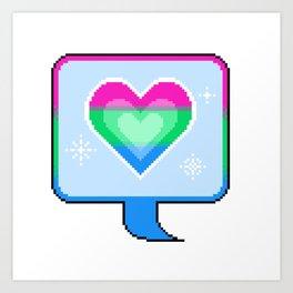 Poly Pride Heart Speech Bubble Art Print