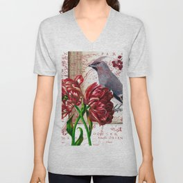 Tulip And Bohemian Waxwing Unisex V-Neck