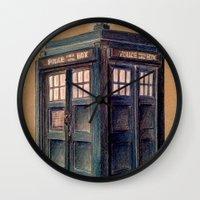tardis Wall Clocks featuring TARDIS by Jordan