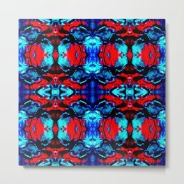 Red Blue Abstract Pattern Metal Print