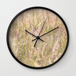 Pink country grass and the wild flowers Wall Clock