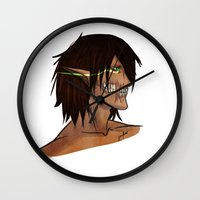 attack on titan Wall Clocks featuring Titan Form by JemyArt