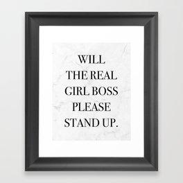 Girl Boss Quote Print Marble Framed Art Print