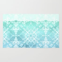 Mermaid's Lace - White Patterned Aqua / Mint Watercolor Wash Rug