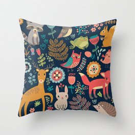 Blue Woodland Critters Pattern Throw Pillow