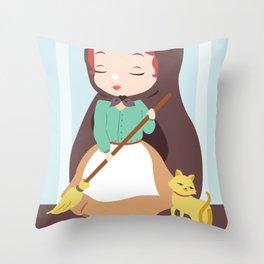 Porcelain Girl (Redhead) Throw Pillow