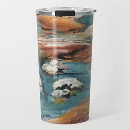 Water And Rock Expressionism Painting Travel Mug