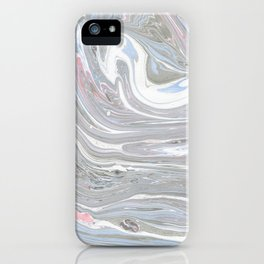 Abstract pink blue gray watercolor marble pattern iPhone Case