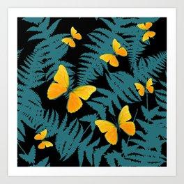 Fern Fronds With Yellow Butterflies & Black Color Art Art Print