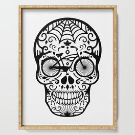 Vintage Mexican Skull with Bicycle - black and white Serving Tray