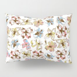 Silk Screen Floral Pillow Sham