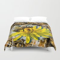 bees Duvet Covers featuring Bees by Moody Muse