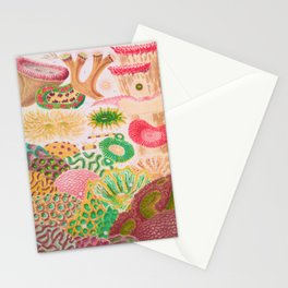 Colorful Coral Vintage Sea Life Illustration Stationery Cards
