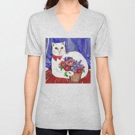 Cozy Cat and Flower Basket Unisex V-Neck
