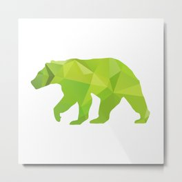 Bear - Green geomatric Metal Print