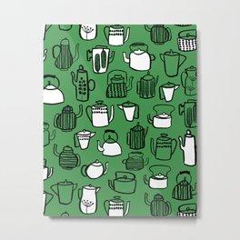 Kitchen Teapots - Green Metal Print