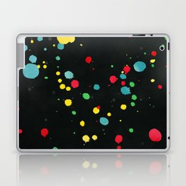 Watercolor splatters on black Laptop & iPad Skin