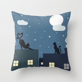 cute cats on the roof in the starry night Throw Pillow