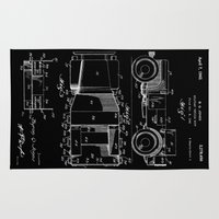 jeep Area & Throw Rugs featuring Jeep: Byron Q. Jones Original Jeep Patent - White on Black by Elegant Chaos Gallery