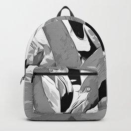 pink flamingo love couple vector art black white Backpack