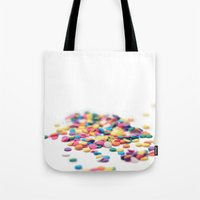 sprinkles Tote Bags featuring Sprinkles by Dena Brender Photography