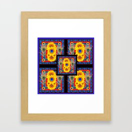 BLUE PEACOCK JEWELED SUNFLOWERS DECO ABSTRACT Framed Art Print