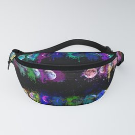 Lunar Phases Watercolor Drips Fanny Pack
