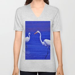 ROYAL BLUE GARZA BIRD Unisex V-Neck