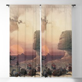 Approach of the simoom Desert of Gizeh  by David Roberts (1796-1864) Blackout Curtain