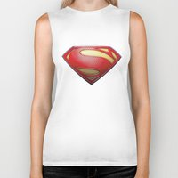 superman Biker Tanks featuring Superman by DeBUM