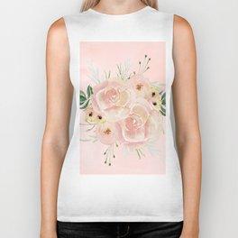 Wild Roses on Seashell Pink Watercolor Biker Tank