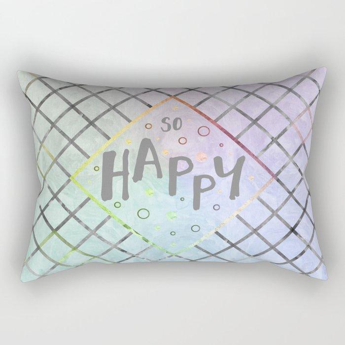 Text Art SO HAPPY | rainbow-colored Rectangular Pillow