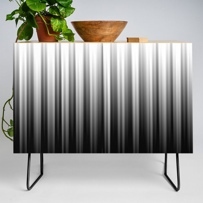 Black And White Soft Blurred Vertical Lines - Ombre Abstract Blurred Design Credenza