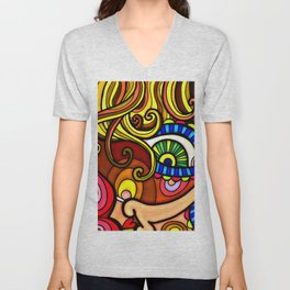 Abstract Doodle Face Unisex V-Neck