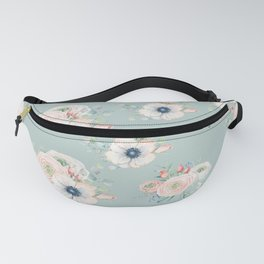 Dog Rose Pattern Mint Fanny Pack