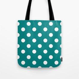 Polka Dots - White on Dark Cyan Tote Bag
