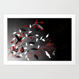 Nature in black, white and red. Art Print
