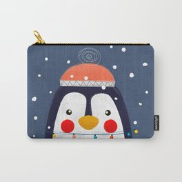 Christmas Penguin with fairy lights no2 Carry-All Pouch