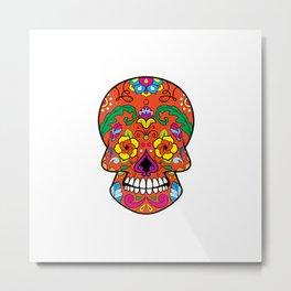 Red Colorful Sugar Skull Metal Print
