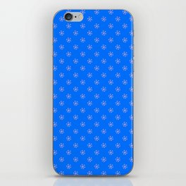 Cotton Candy Pink on Brandeis Blue Snowflakes iPhone Skin
