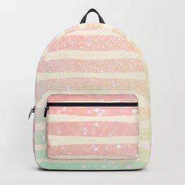 Glitter Wave Pink Sparkle Ombre Stripe Backpack