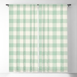 Gingham Mint Green and White Seamless Pattern Blackout Curtain