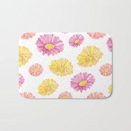 Blush pink yellow watercolor hand painted daisies floral Bath Mat