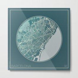 Barcelona Map Planet Metal Print
