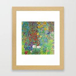 12,000pixel-500dpi - Gustav Klimt - Farm Garden with Sunflowers - Digital Remastered Edition Framed Art Print