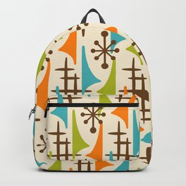 Retro Mid Century Modern Atomic Wing Pattern 421 Brown Orange Turquoise and Olive Green Backpack