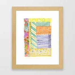 Kantha textile watercolor Framed Art Print