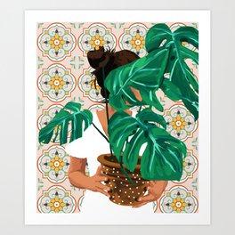 Monstera plant lady Art Print