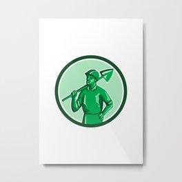 Green Miner Holding Shovel Circle Retro Metal Print