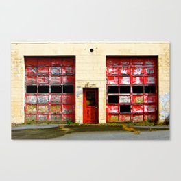 Red Doors on Garage #1 & #2 Canvas Print